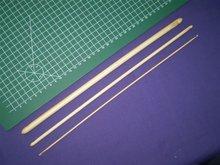 Dubbele Tunische haaknaald bamboe 13 inch, ca. 35cm